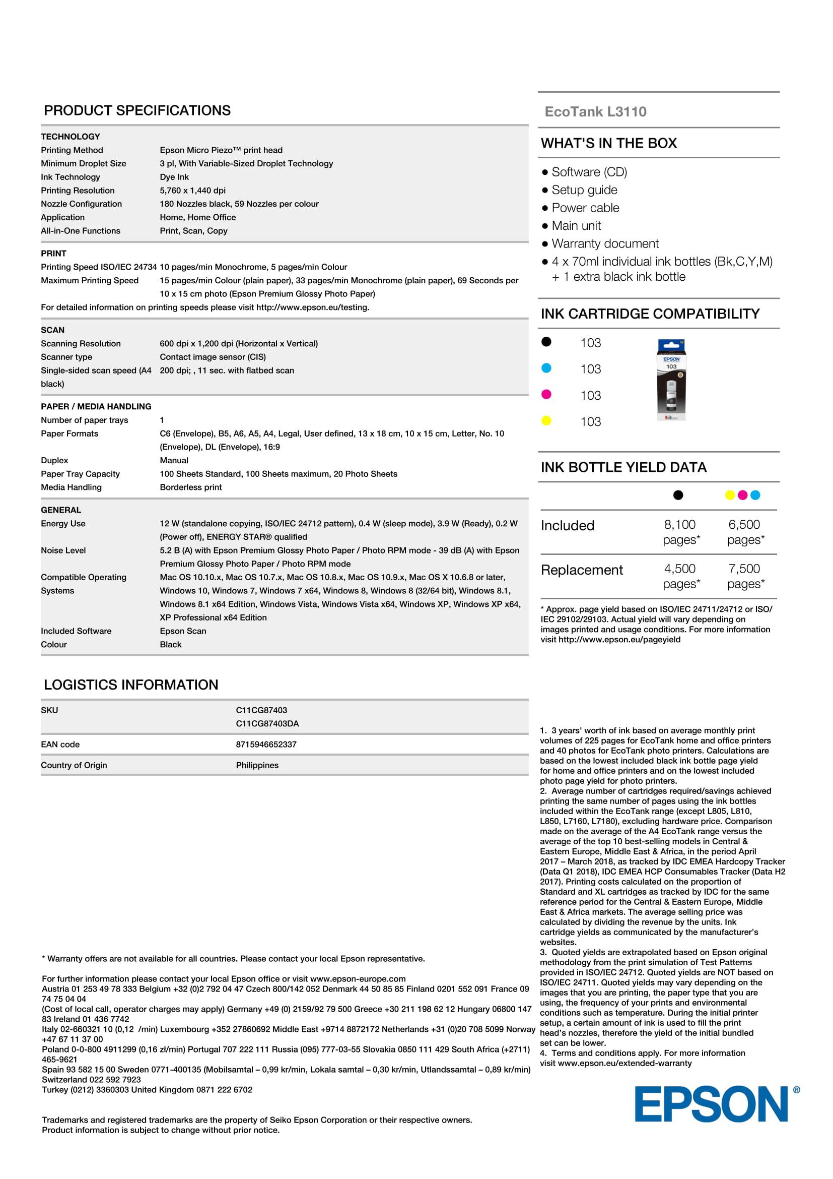 EPSON ECOTANK L3110 | Cartridge-free printing - Pearlblue Tech