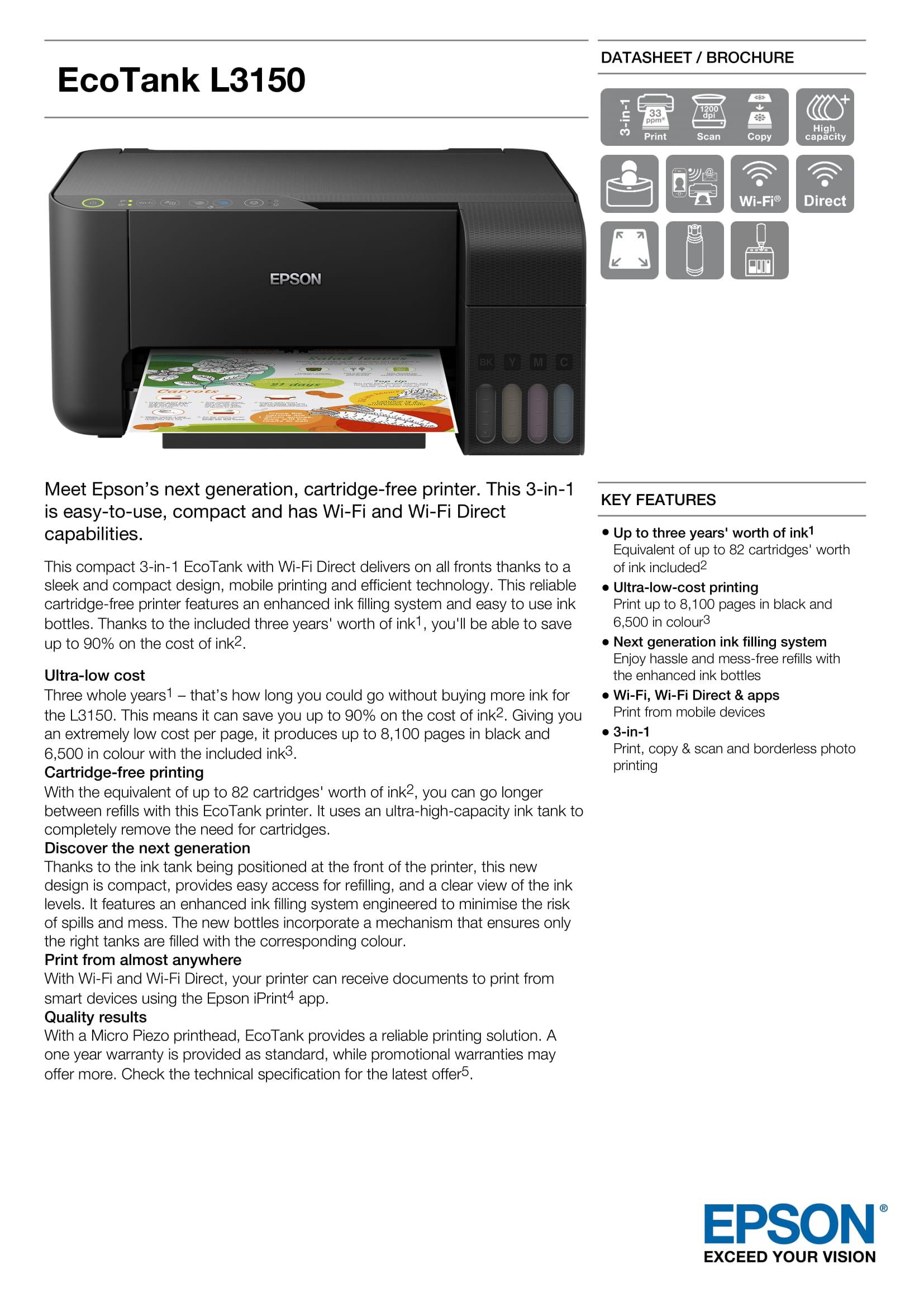 EPSON ECOTANK L3150 | Cartridge-free printing - Pearlblue Tech